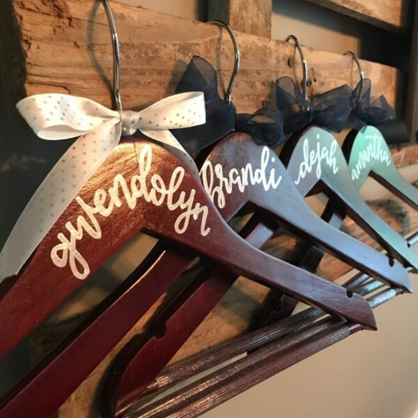 custom hangers for a wedding in Indianapolis handwritten names