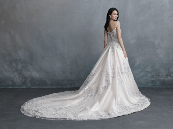 lavender lace wedding dress on bride from Sophia's Bridal Allure Bridals long train