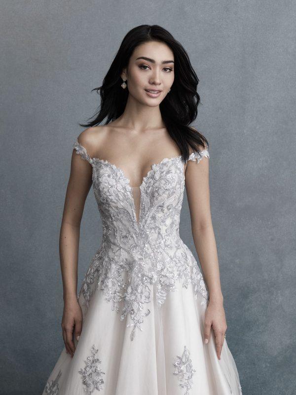 lavender lace wedding dress on bride from Sophia's Bridal Allure Bridals