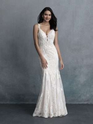 lace fitted wedding dress on bride from Allure Bridals at Sophia's Bridal