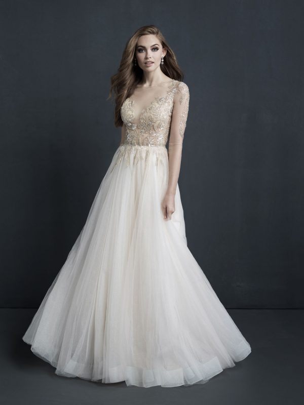 beaded lace ball gown with tulle from Allure Bridals at Sophia's Bridal