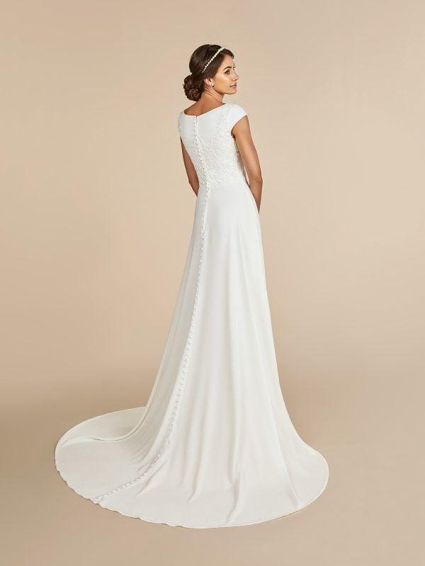 modest satin high neck a line ball gown wedding dress