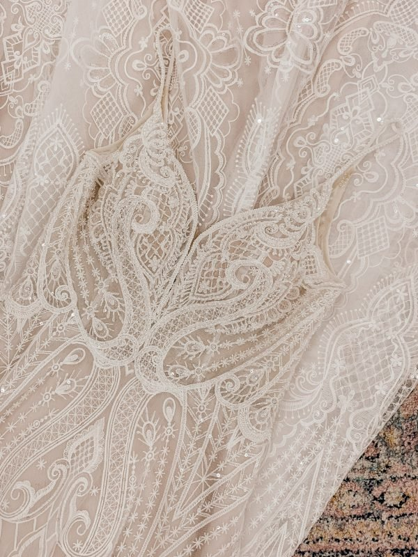 graphic lace detail boho wedding dress