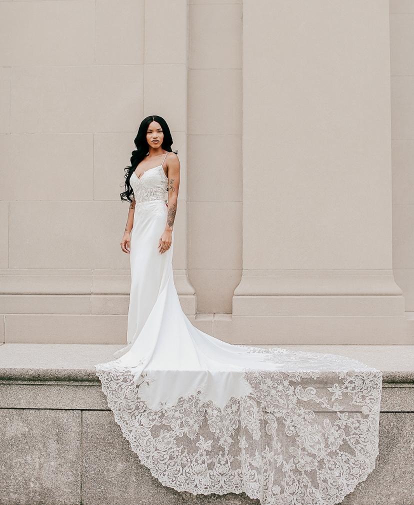 amazing wedding dress train with crepe fabric