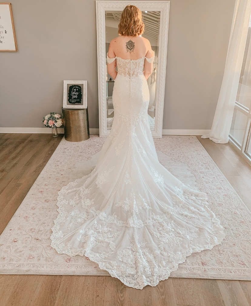 off the shoulder, cage train, fitted crepe private label wedding dress