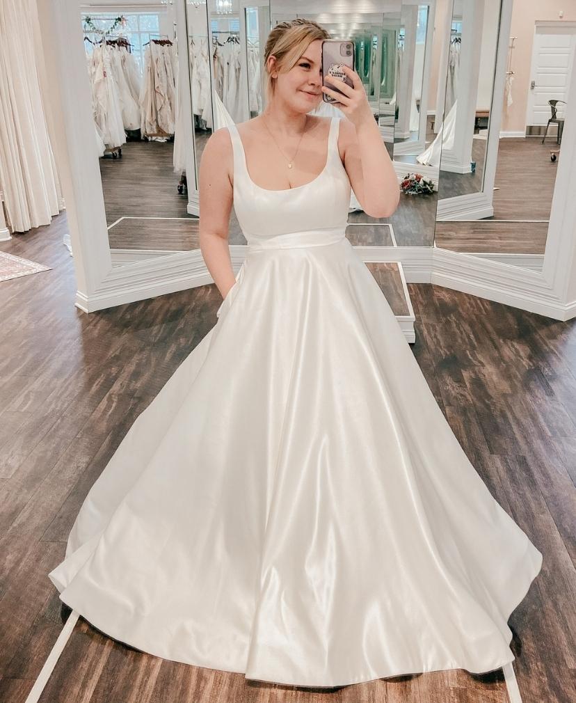 Clean, minimal, simple satin private label wedding dress