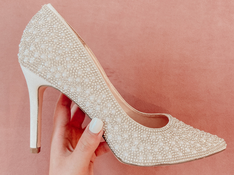 sparkly wedding shoes--heels with pearl beads and detailing
