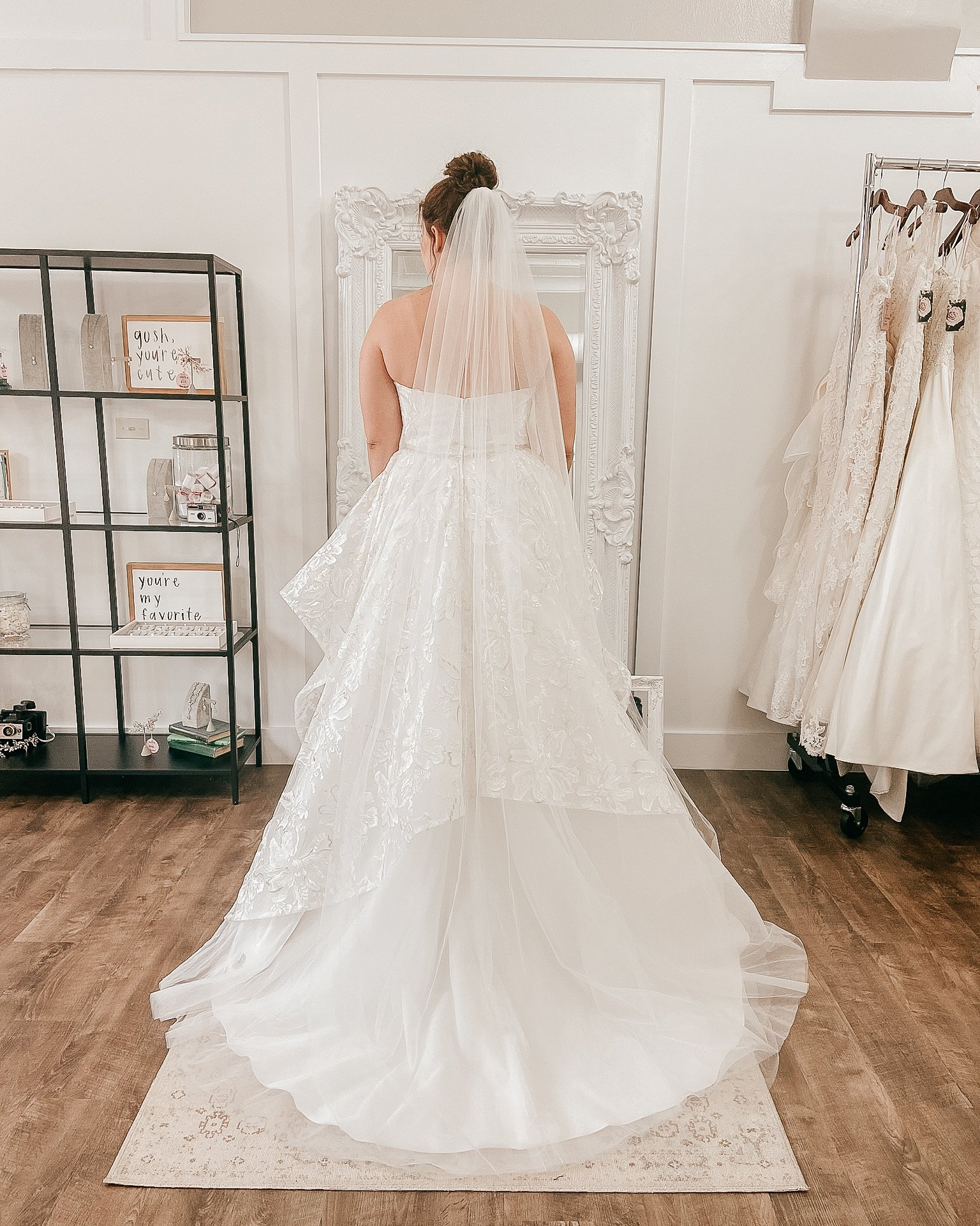 floor length veil in an Indianapolis bridal boutique