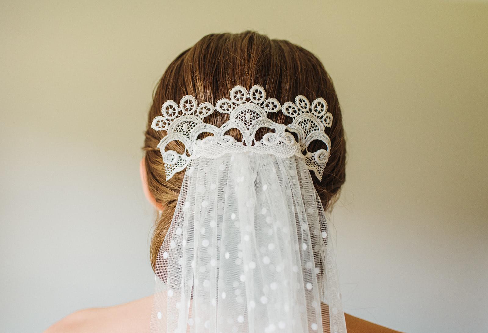 Wedding hair piece made from a veil