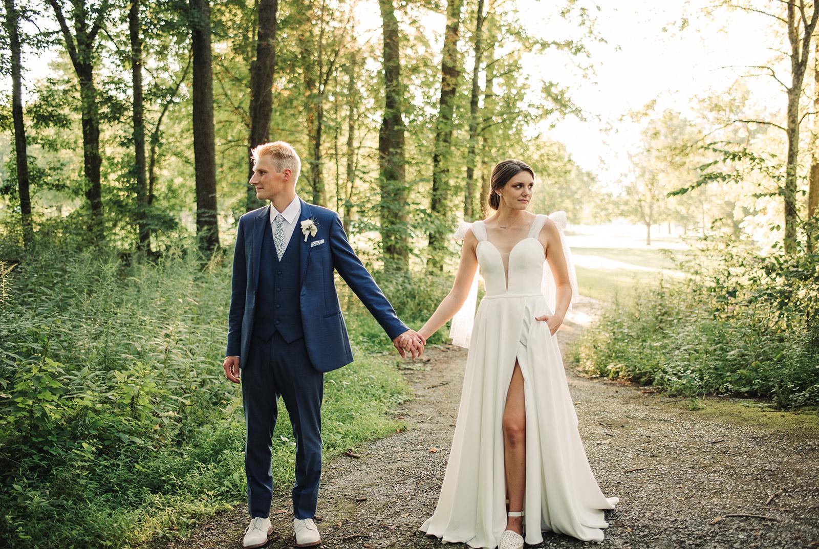 aline wedding dress with a slit