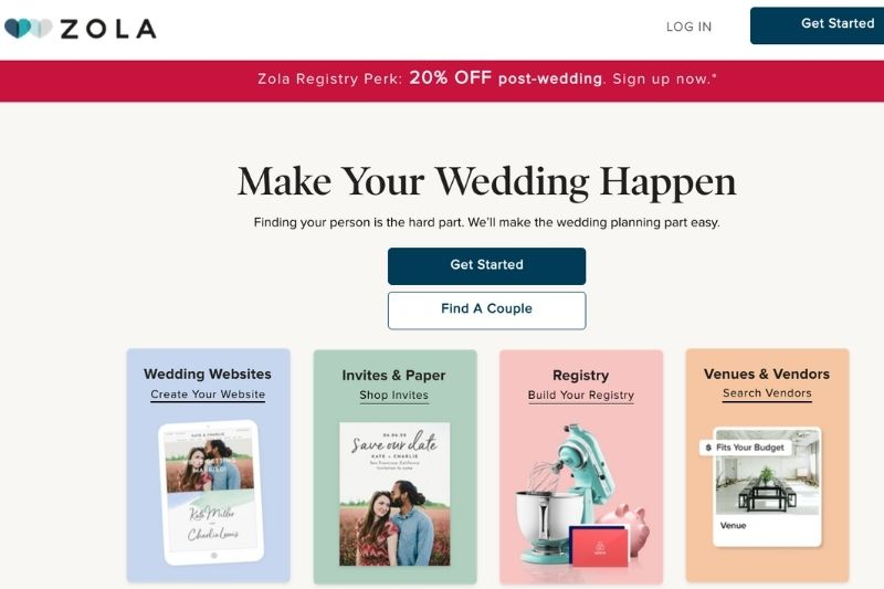 zola for wedding planning