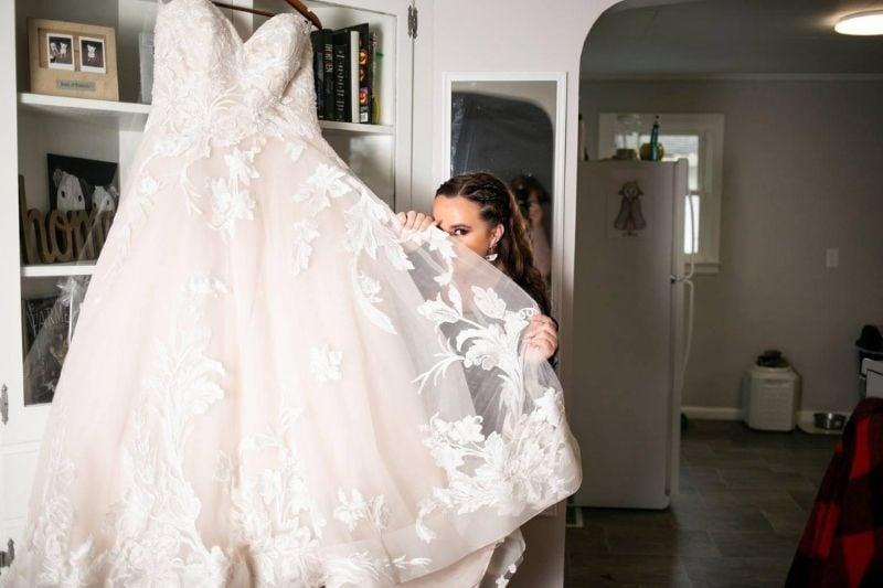 bride with her wedding dress