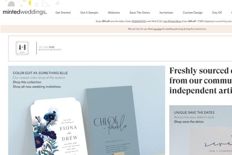 minted website screenshot
