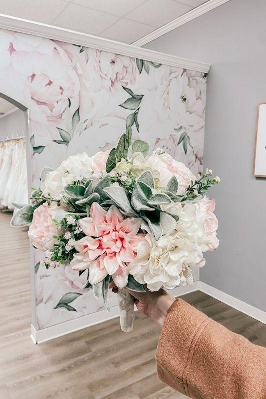 artificial flower bouquet to save money when wedding planning