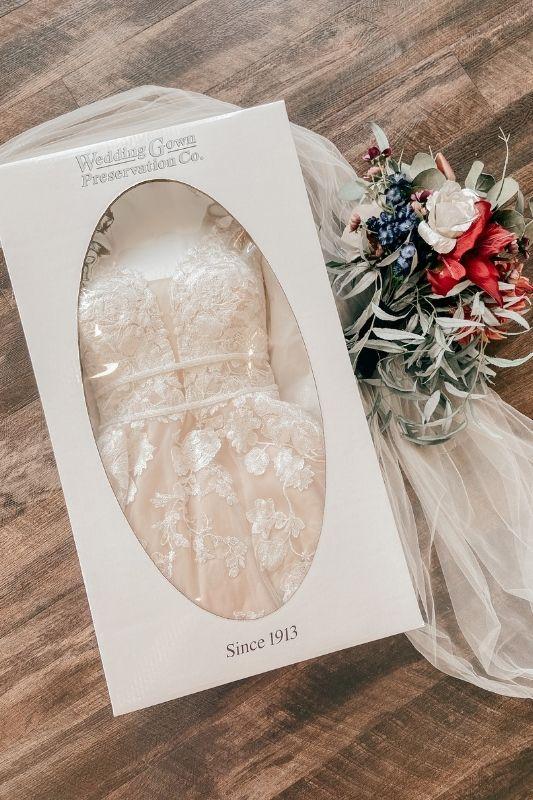 a packaged wedding dress
