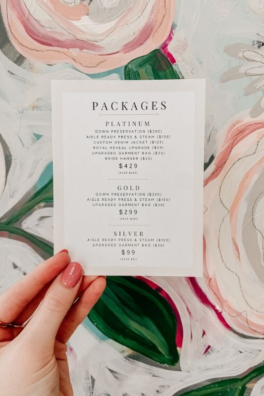 packages at a bridal shop