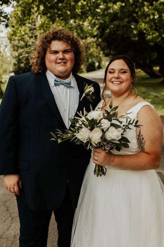 blue tux for a modern wedding