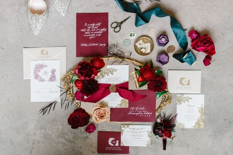 wedding invitation detail shots
