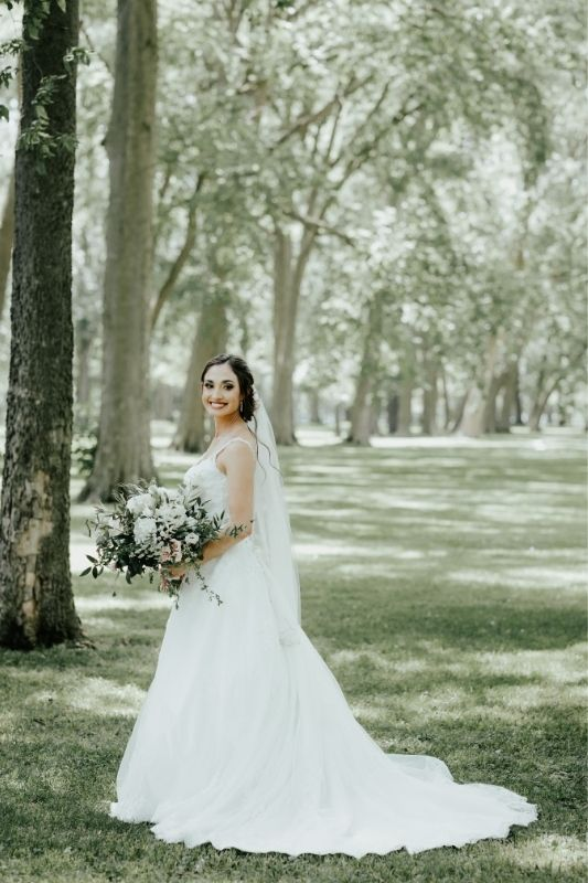 bride in her dress on her wedding day