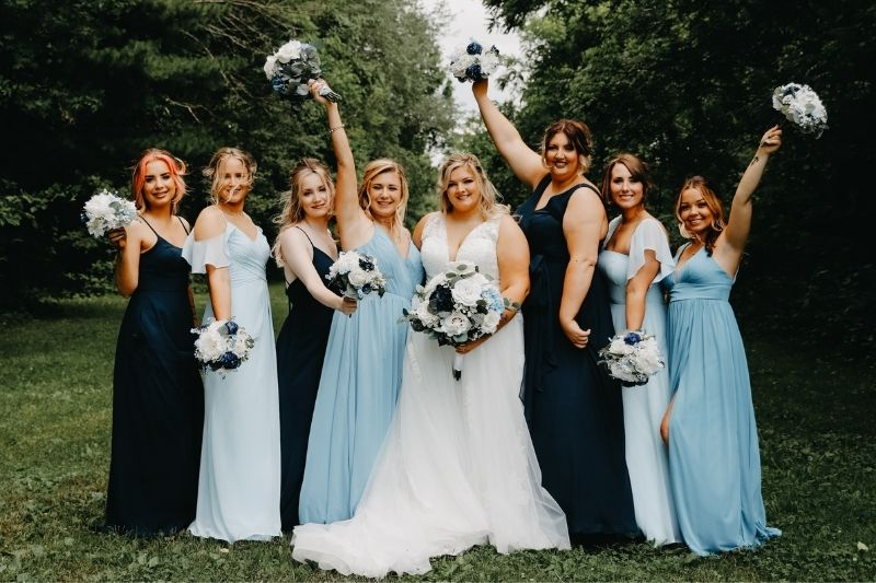 bride and her bridesmaid party