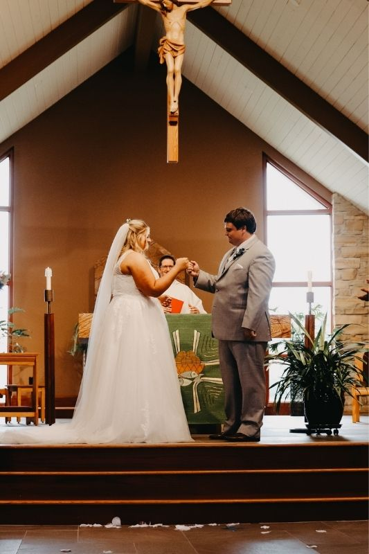 bride and groom at the ceremony